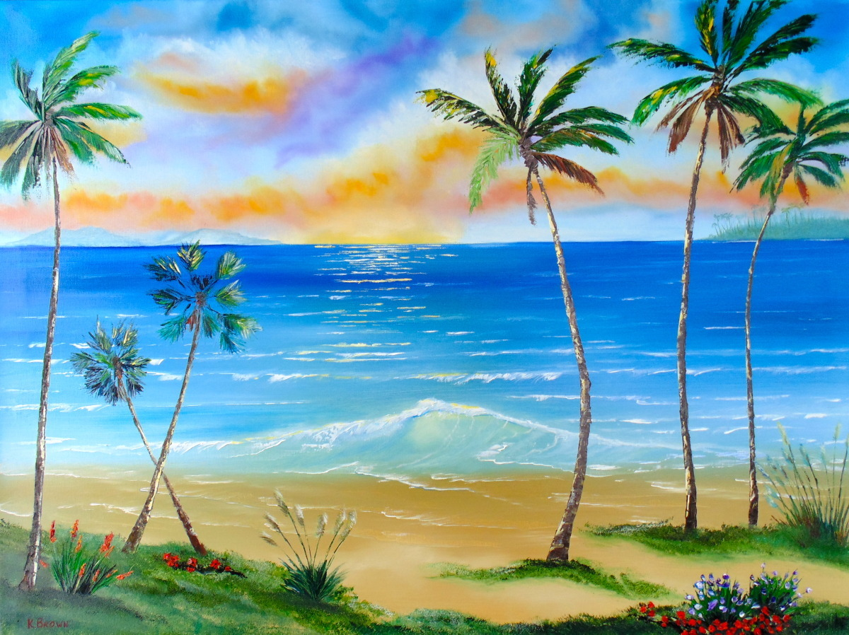 Artwork palm tree paradise sold prints available by for Painting palm trees