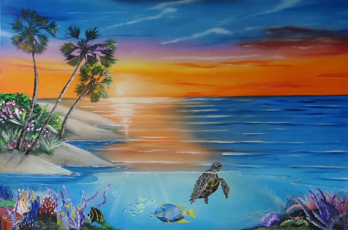 """Painting : """"Underwater Paradise"""" (Original art by Kevin Brown)Acrylic Paintings Sunset"""