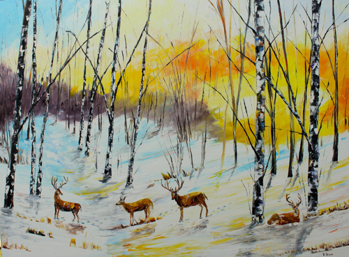 Winter Deer- SOLD (prints available)