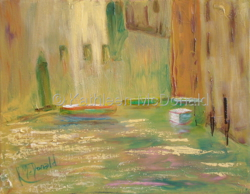 Four Boats on a Venice Canal