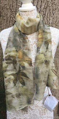 Eco Printed Silk-Wool Blend Scarf