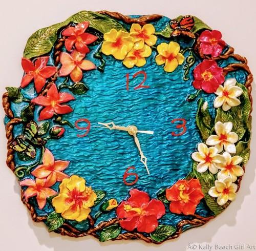 Plumeria Clock