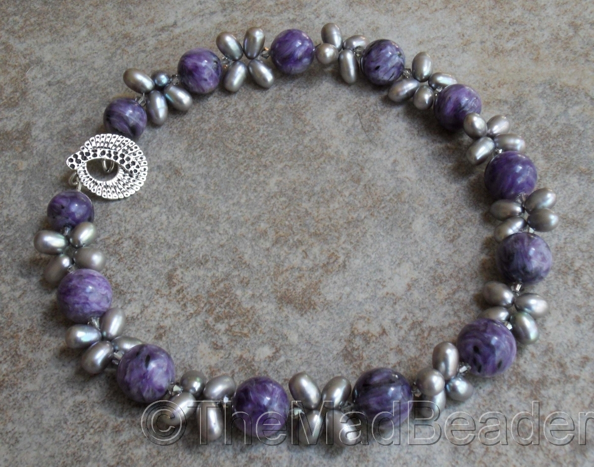 RUSSIAN CHAROITE & Woven Pearls LUXE  ed.2/2 (large view)