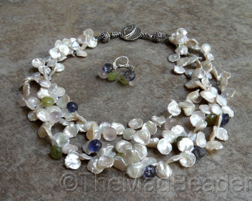 Creamy Cornflakes with Iolite, Rose Quartz and Green Garnet LUXE Set by The Mad Beader
