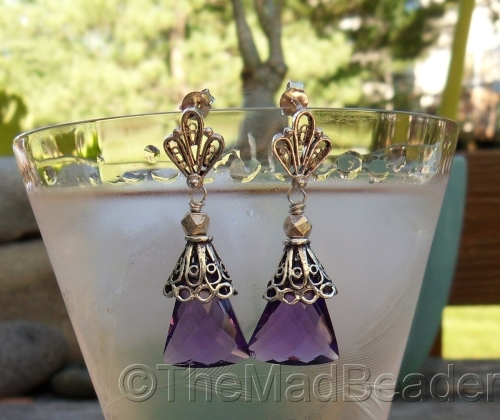 AAA Amethyst Trapezoids with Fan Posts