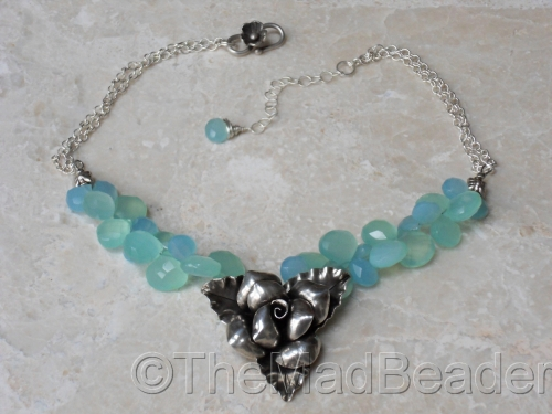 CARRIBEAN BLUE Chalcedony and Fine Silver Flower by The Mad Beader