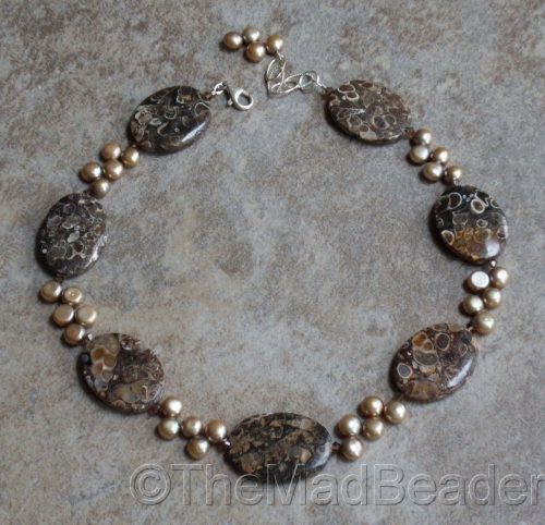 TURRITELLA  Agate & Pearl by The Mad Beader