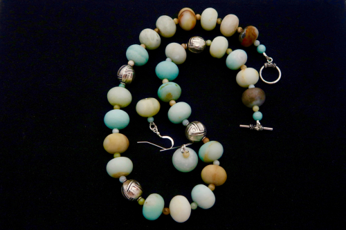 BETTINA HEHLEN: Amazonite/Sterling Necklace & Earrings Set