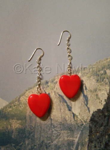 Candy Heart on a Chain Earrings by Kate Neylon