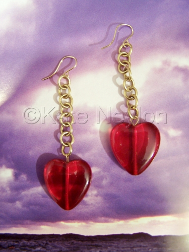 Transparent Heart on a Chain Earrings