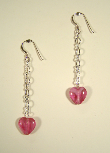 Little Sweet Heart On A Chain Earrings