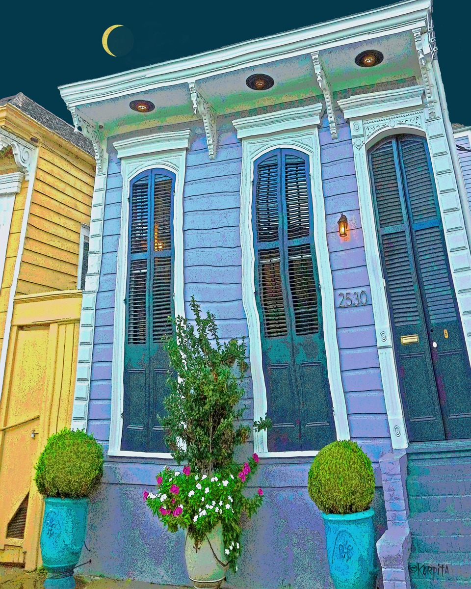 New Orleans Shotgun House - Under the Light of a Slivery Moon (large view)