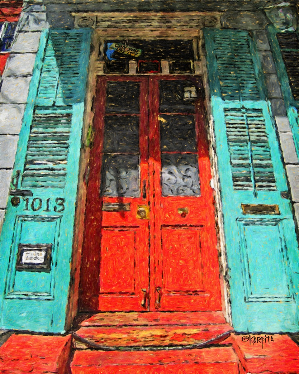 Digital Art New Orleans House With Red Door And Turquoise