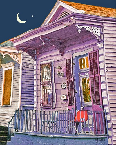 New Orleans Shotgun House - Nighttime in the Bywater