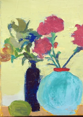 red flowers in blue vase (large view)
