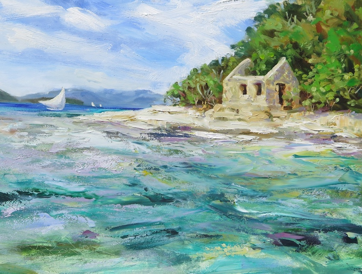 Tortola Sloop And Whistling Cay Guardhouse - Sailing To Freedom (large view)