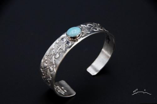 Silver Cuff Tapered Bracelet by Ken Romero