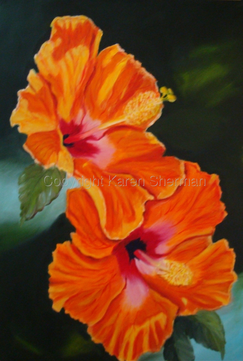 """""""Two Hibiscus"""" (large view)"""