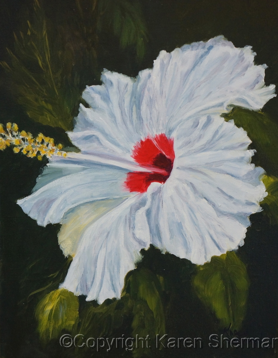 """White Hibiscus 30"" (large view)"