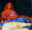 Girl holding death doll, train wreck, desert (thumbnail)