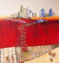 Cincinnati skyline, ladder of bones, tied hands, red, cream sky (thumbnail)