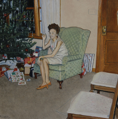 "Christmas Visit - 4"" x 4"" - Oil by Kenneth Templeton"