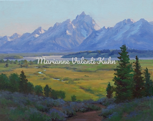 Grand Teton in Evening by Marianne  V.  Kuhn