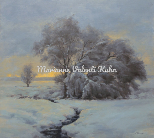 Snowy Willows by Marianne  V.  Kuhn