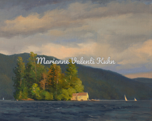 Passing Storm - Recluse Island, Lake George, NY by Marianne  V.  Kuhn