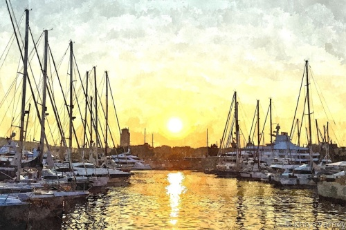Barcelona Harbor at Sunset