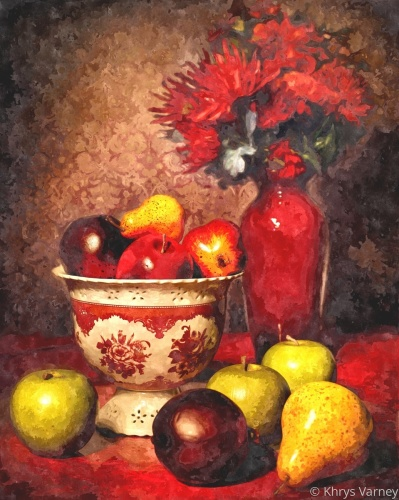 Still Life with Apples and Pears by Khrys Varney