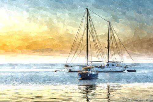 Three Boats Yellow Sunset