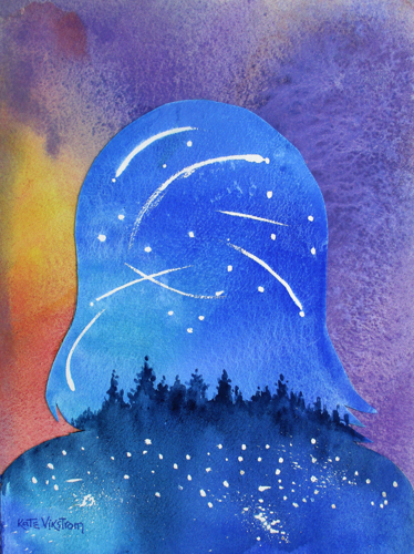 Self Portrait in Shooting Stars and Fireflies