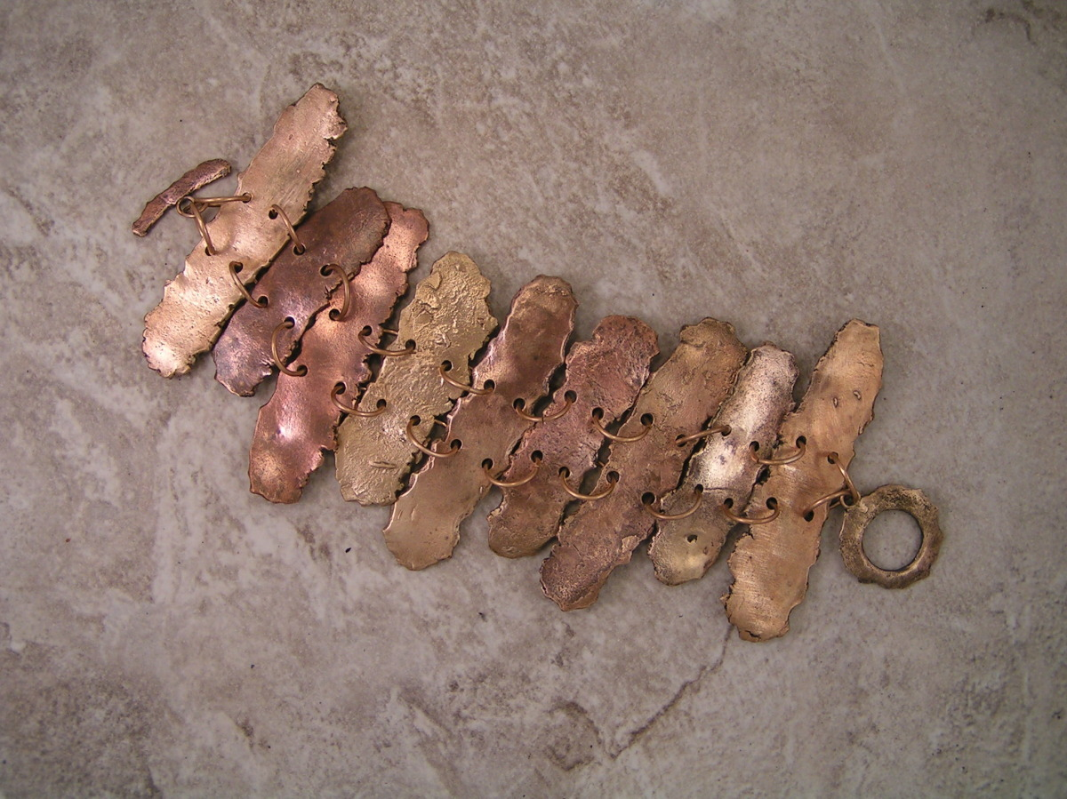 'Picket Fence I' Distressed-Look Gold Bronze Bracelet (large view)