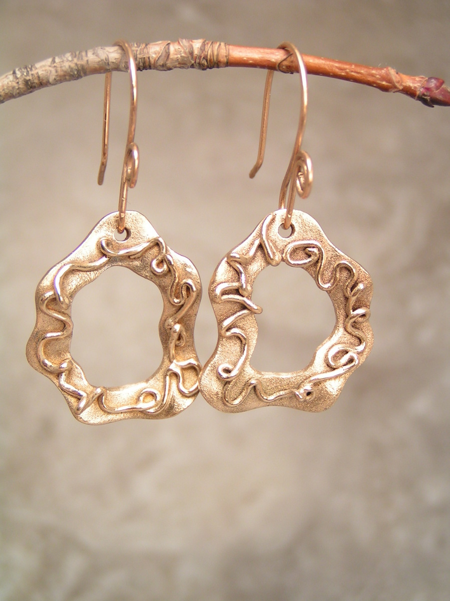 Reversible Squiggles Gold Bronze Earrings (large view)