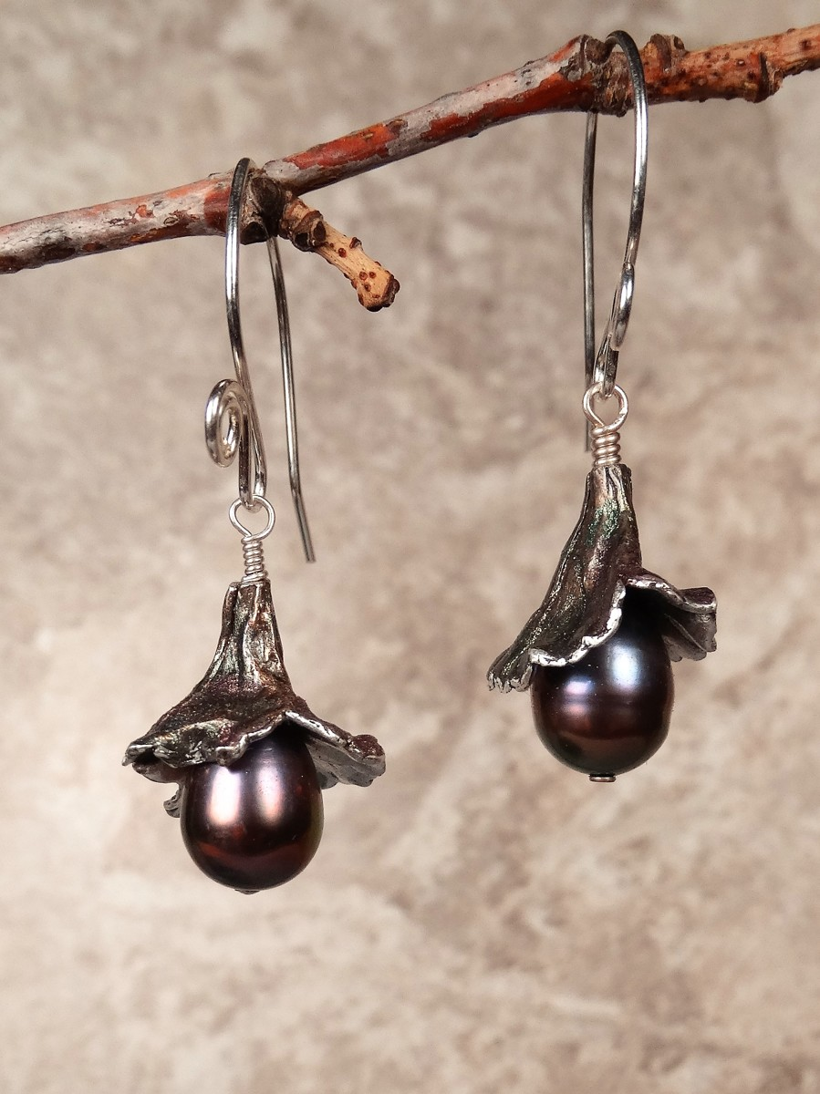 'Eggplant' Fine Silver Earrings (large view)