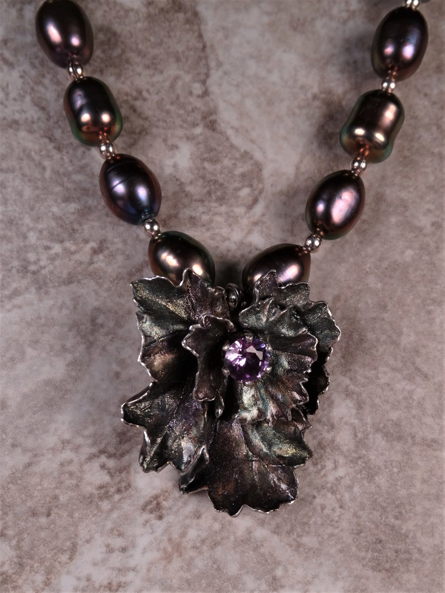 'Alexandrite and Pearls' Flower Necklace in Silver (large view)