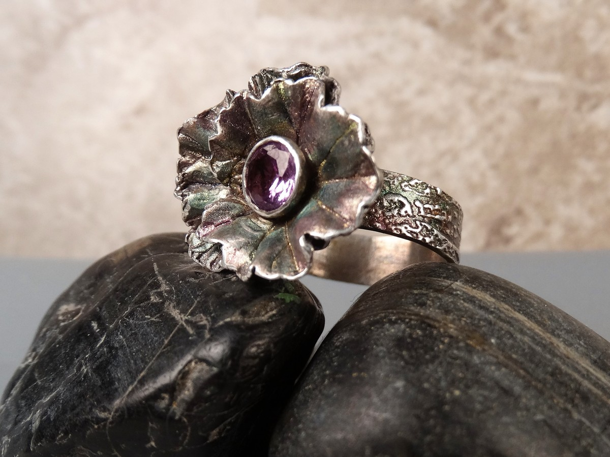 'Alexandrite Flower Ring' in Fine Silver (large view)