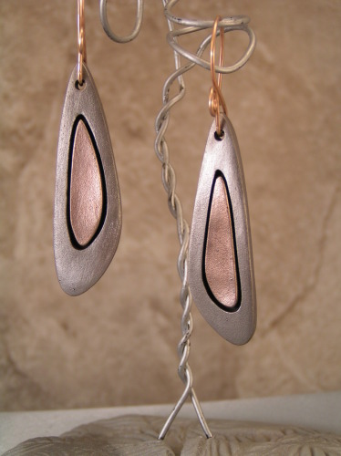 Steel and Gold Bronze Earrings