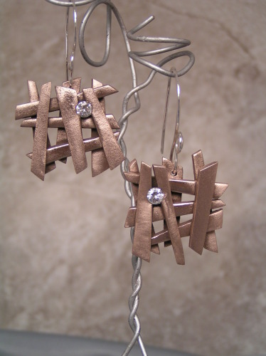 'Sticks and Stones' Champagne Bronze Earrings