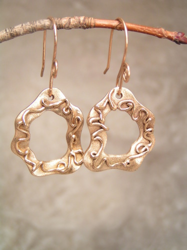 Reversible Squiggles Gold Bronze Earrings