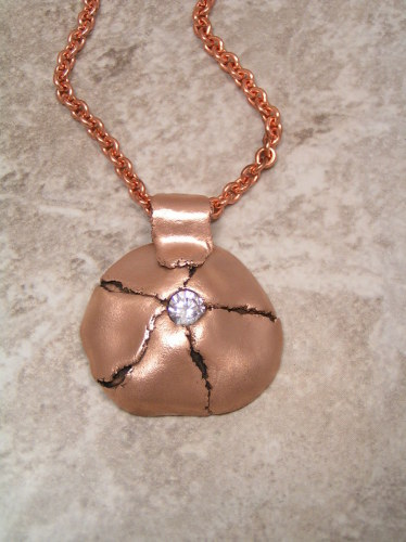 'Torn' Pink Bronze Pendant by Bronze Goddess Jewelry