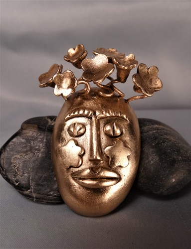 'The Game of Masks' Gold Bronze Pin/Pendant