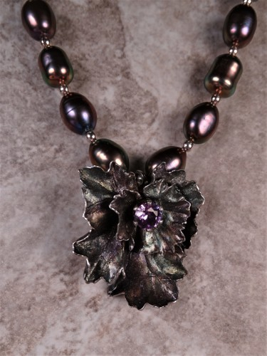 'Alexandrite and Pearls' Flower Necklace in Silver
