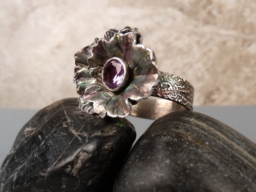 'Alexandrite Flower Ring' in Fine Silver
