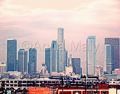 Downtown Los Angeles (pink smog)
