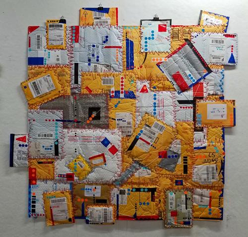crazy consumer quilt, family debris