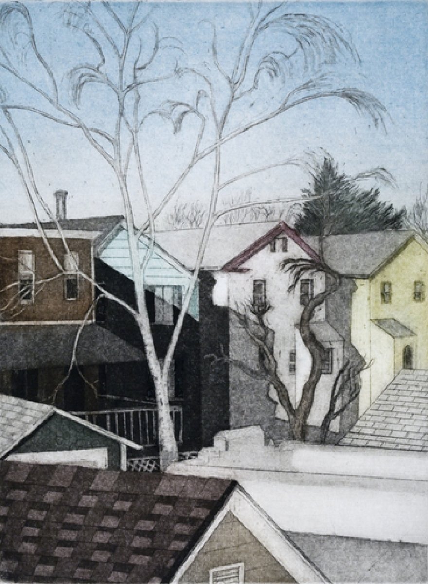 Rooftops with Winter Birch (large view)