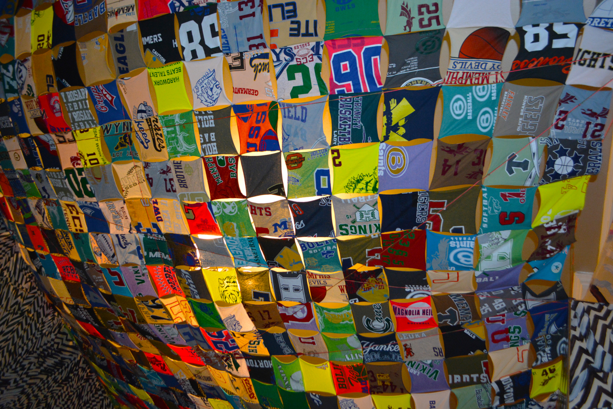 Never Again, Hand-Stitched, Silkscreened T-shirt Ceiling (large view)