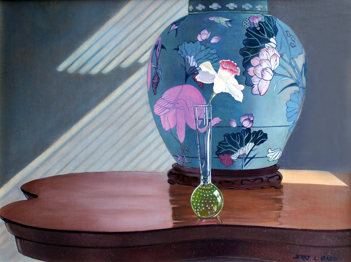 Ginger Jar Lamp with Flower (large view)